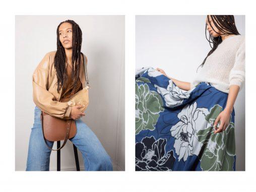 Vegane Lederjacke von Dorothee Schumacher, weite Jeans - Model rechts mit Pulli on Karin Rocke und weitem Blumenrock von Hannes Rother